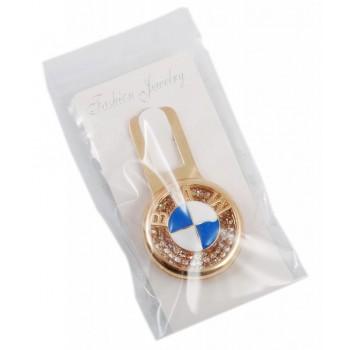 Закопчалка за автомобилен колан - кръг с емблема на BMW, декориран с бели камъни