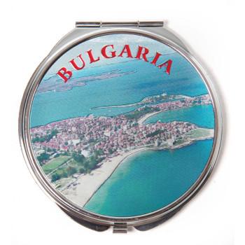 Сувенирно джобно огледало метал, декорирано с лазерни инкрустации - изглед и лого на България