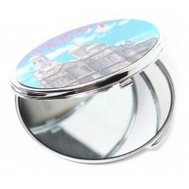 Сувенирно джобно огледало метал, декорирано с лазерни инкрустации - Варненската катедрала и лого на България