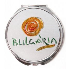 Сувенирно джобно огледало метал, декорирано с лазерни инкрустации - Капитанска среща - Несебър и лого на България