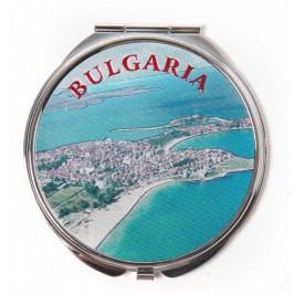 Сувенирно джобно огледало метал, декорирано с лазерни инкрустации - изглед и Герб на България