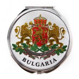 Сувенирно джобно огледало метал, декорирано с лазерни инкрустации - Капитанска среща - Несебър и Герб на България
