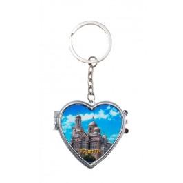 Сувенирен метален ключодържател във формата на сърце с огледала - катедралата във Варна