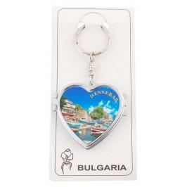 Сувенирен метален ключодържател - сърце с огледало