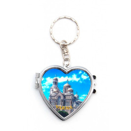 Сувенирен метален ключодържател във формата на сърце с огледала