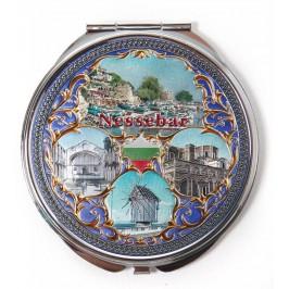 Сувенирно джобно огледало метал с капаче с декорация - забележителности от Несебър