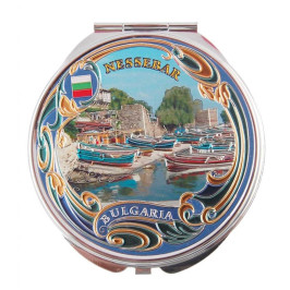 Сувенирно джобно огледало метал, декорирано с лазерни инкрустации - капитанска среща, Несебър