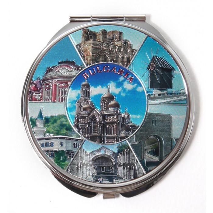 Сувенирно джобно огледало метал с капаче с декорация - забележителности от българското черноморие
