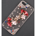 Калъф за телефон I5, декориран с цвете - панделка - цвете, бели и цветни камъни