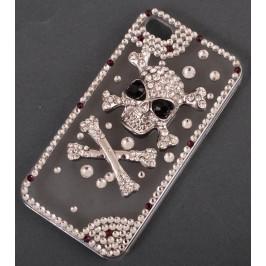 Калъф за телефон I5, декориран с череп с кръстосани кокали и цветни камъни