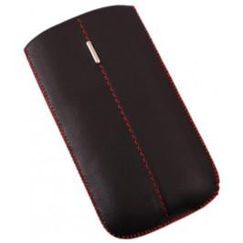Калъф за телефон iPHONE 5, изработен от еко кожа, декориран с червен шев и метална пластинка - черен