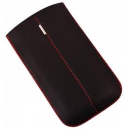 Калъф за телефон Samsung S3, изработен от еко кожа, декориран с червен шев и метална пластинка - черен