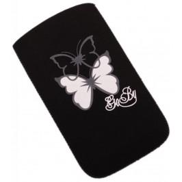 Калъф за телефон Samsung S3, изработен от мек велур, декориран с пеперуди - черен