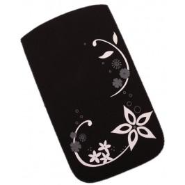 Калъф за телефон Samsung S3, изработен от мек велур, декориран с флорални мотиви - черен
