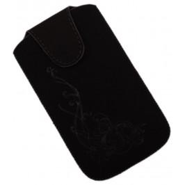 Калъф за телефон iPHONE 4 със закопчалка, изработен от мек велур, декориран с нежни флорални мотиви - черен