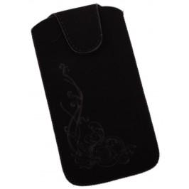 Калъф за телефон iPHONE 5 със закопчалка, изработен от мек велур, декориран с нежни флорални мотиви - черен