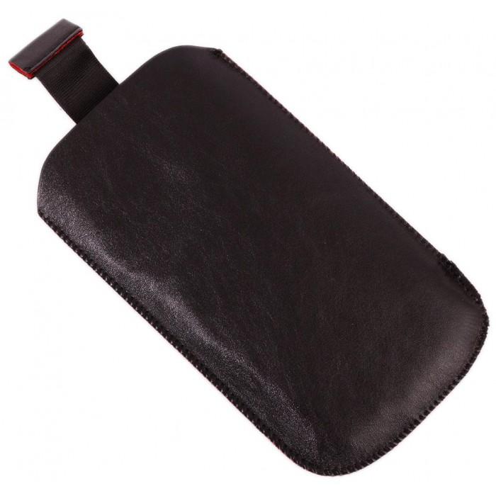 Калъф за телефон SAMSUNG 3, изработен от мека финна кожа и велур - черен