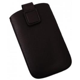 Калъф за телефон iPHONE 4 със закопчалка, изработен от мека еко кожа - черен