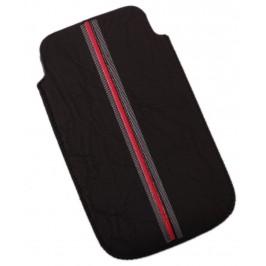Калъф за телефон iPHONE 4, изработен от мека еко кожа, декориран с червена лента - черен