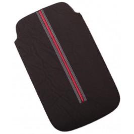 Калъф за телефон Samsug S3, изработен от мека еко кожа, декориран с червена лента - черен