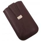 Калъф за телефон iPHONE 4 с капаче с магнит, изработен от еко кожа - тъмно кафяв