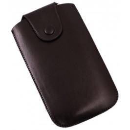 Калъф за телефон iPHONE 4 с капаче с копче, изработен от еко кожа - черен
