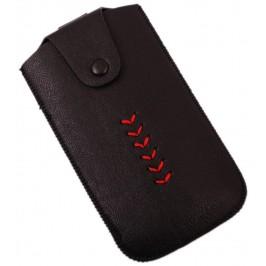 Калъф за телефон Samsung S3 с капаче с копче, декориран с червен шев