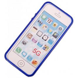 Калъф за телефон iPHONE 5, изработен от здрав и устойчив силикон - син