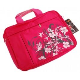 Елегантна дамска чанта за лаптоп, декорирана с флорални мотиви - розова