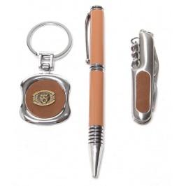 Луксозен подаръчен комплект от химикал, ключодържател и швейцарско ножче