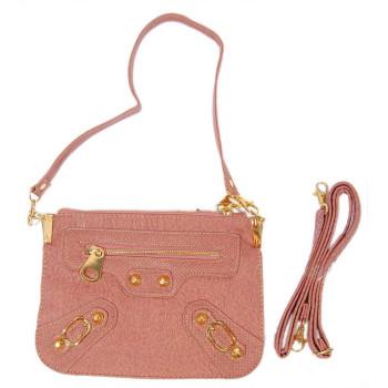 Дамска чанта с декоративни ципове и капси