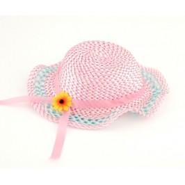 Лятна шапка с декоративна панделка и цвете