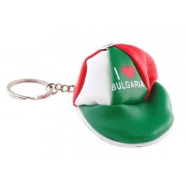 Сувенирен кожен ключодържател - портмоне във формата на шапка с козирка в цветовете на българското знаме