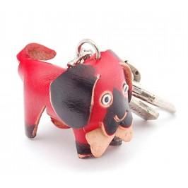 Ключодържател с кожена фигурка - куче, което е захапало кокал