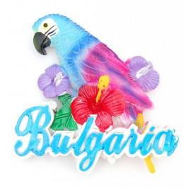 Декоративна релефна фигурка във формата на папагал с цветя и надпис - България