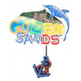 Декоративна релефна фигурка с делфин и котва - морски мотиви, Златни пясъци