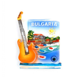 Магнитна фигурка, декорирана с китара и синьо око за късмет - България