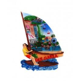 Декоративна фигурка с магнит и синьо око - сърфист - България