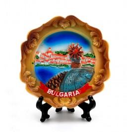 Сувенирна релефна чиния - провлакът в Несебър с вятърната мелница