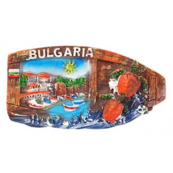 Декоративна релефна фигурка с магнит - капитанска среща в Несебър, България
