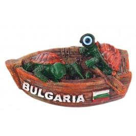 Релефна фигурка с магнит във формата на две костенурки в лодка - България