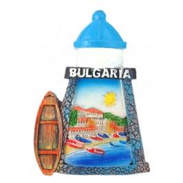Декоративна фигурка с магнит във формата на фар и лодка - с надпис България