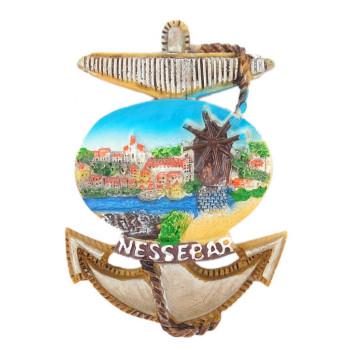 Декоративна релефна фигурка във формата на котва - старата мелница в Несебър