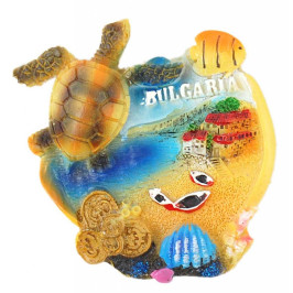 Декоративна релефна фигурка с костенурка и морски мотиви - морски пейзаж, България