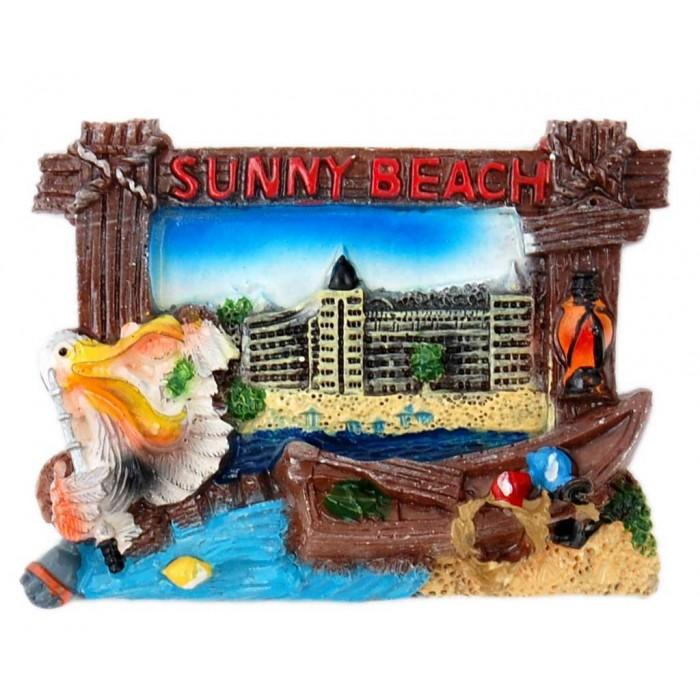 Декоративна фигурка с магнит във формата на рамка с пеликан и лодка - хотел на Слънчев бряг