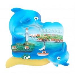 Релефна фигурка с магнит - два делфина и морски мотиви, България