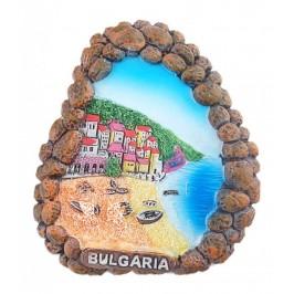 Релефна фигурка с магнит - рамка от камъни - морски мотиви, България