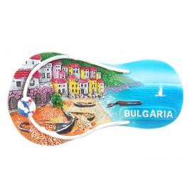 Магнитна релефна фигурка във формата на джапанка - морски мотиви - лодки и къщички, България