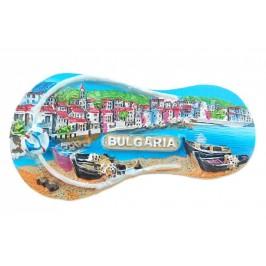 Магнитна релефна фигурка във формата на джапанка - морски мотиви - лодки и сгради, България