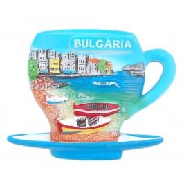 Магнитна релефна фигурка във формата на чаша за кафе с чинийка - морски мотиви